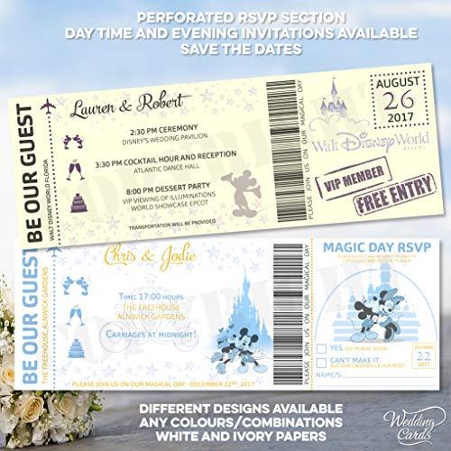 Mickey y Minnie Mouse Invitar invitaciones de boda cumpleaños billete fiesta Mickey Minnie Disney Ariel personalizado Peter Pan rey León princesa Príncipe belleza