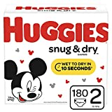 Huggies Snug & Dry Baby Diapers, Size 2, 180 Ct