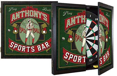THOUSAND OAKS BARREL CO. | Personalized 'Baseball' Dartboard & Cabinet Set with 6 Steel Tip Darts - Perfect Sports Fan Gift - Sporting Memorabilia, Wall Art