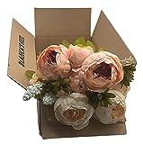 Ramo de Flores Peonía Artificial Vintage para decoración del Hogar, Bodas, Fiestas (Champagne)