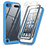 ipod 5 bumpers with clear back - iPod Touch 7th 6th 5th Generation Case, iPod Touch Case with Tempered Glass Screen Protector [2 Pack], LeYi Full-Body Armor Hybrid Rugged Protective Clear Bumper Case Cover for Apple iPod Touch 7 6 5