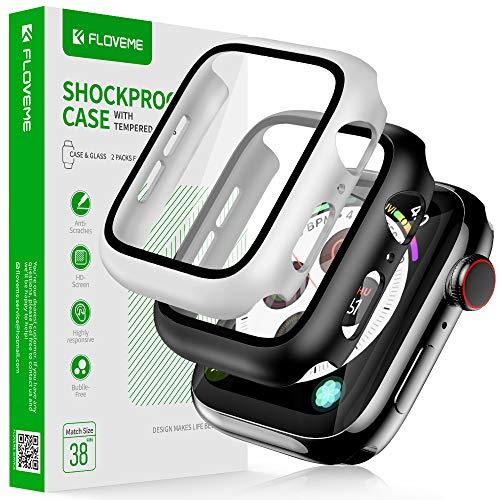 FLOVEME Compatibile con Apple Watch Series 3 2 1 38 mm Case con vetro protettivo integrato, 360°, custodia ultra sottile per iWatch