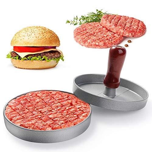 NOBRANDED Burgerpresse, Hamburgerpresse mit Holzgriff, Burger Patties Presse mit Antihaftbeschichtung aus Aluguss, Hamburger Patty Maker für Leckere BBQ, Grillzubehör (A)