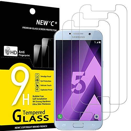 NEW'C Lot de 3, Verre Trempé Compatible avec Samsung Galaxy A5 2017 (SM-A520F), Film Protection écran sans Bulles d'air Ultra Résistant (0,33mm HD Ultra Transparent) Dureté 9H Glass