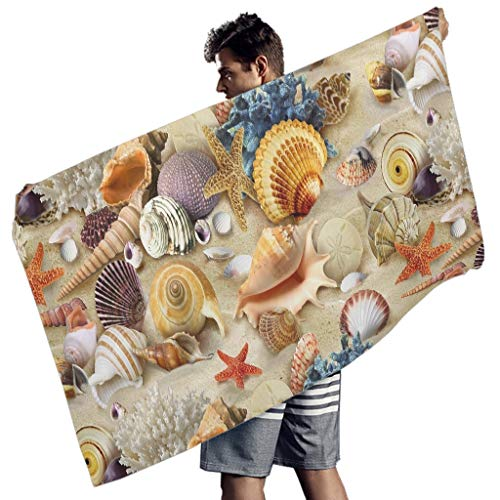 MINNOMO Conch Shell Seestern Korallen Ozean Druck Badetücher Sommer Handtücher White 150x75 cm