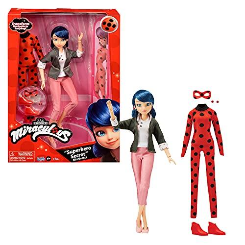 Bandai - Miraculous - Muñeca con Sus Dos Trajes - Ladybug y Marinette - Muñeca articulada de 26 cm con Sus Dos Trajes - P50355