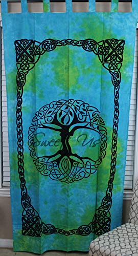 Curtain for Living Room, Cotton Tab Top Linen Curtain Panel, Tree of Life Curtain, Single Tie-Dye Curtain Celtic Curtain 44 inches Wide by 88 inches Long Blue Green
