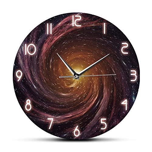 hufeng Reloj de pared Agujero Negro en EL espacio Reloj de pared de diseño moderno Astronomía Decoración del hogar Reloj de arte silencioso sin tictac Reloj de pared colgante para sala de Estar