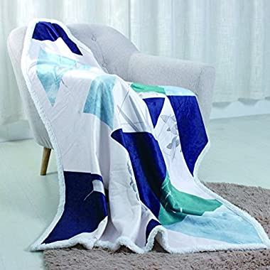 SyMax Sherpa Soft Sleeping Warm Blanket Digital Printed Quilt for Bed Or Couch All Seasons(Throw, Triangle)