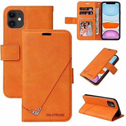 Ufgoszvp Huawei P40 Lite Case, Shock-Absorption PU Leather Wallet Cases with Kickstand Card Slots Magnetic Slim Fit Flip Notebook Shockproof Bumper Protective Phone Case for Huawei P40 Lite Orange
