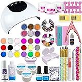 Warm Girl Set profesional de artículos para la decoración de uñas; 24 colores, gel UV, lámpara blanca UV/LED de secado, estrás.