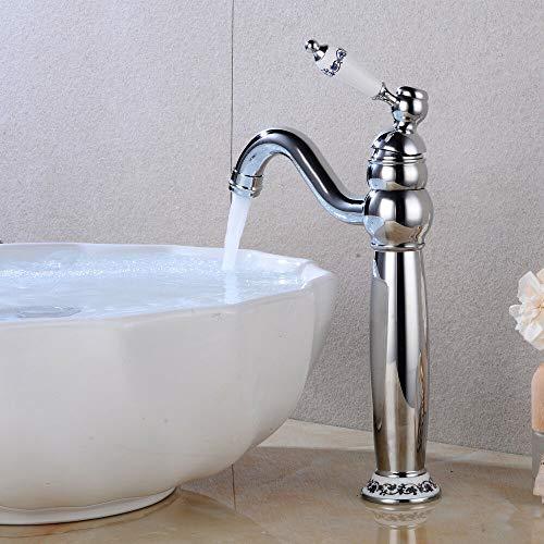Grifo mezclador monomando para lavabo, 360°, diseño retro