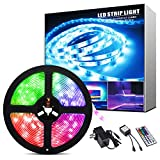 ShinePick Led Strip Lights 16.4ft Waterproof SMD 5050 150LEDs Light Strips Kit with 44 Keys Remote Controller and 12V Power Supply