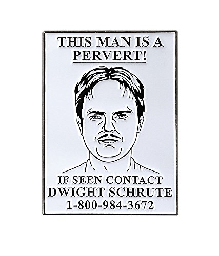 Pinsanity The Office Dwight Pervert Wanted Poster Enamel Lapel Pin