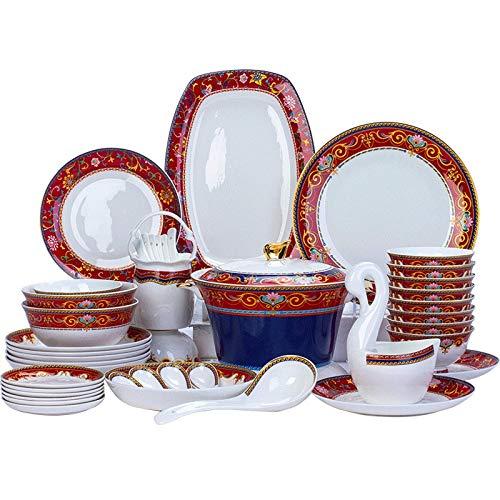 YLJYJ De vajilla de cermica de Plato de Cena, 48 Piezas de vajilla de Porcelana de Alta Gama con Olla de Sopa y Cuenco de Cereal  Juego de vajilla de porc