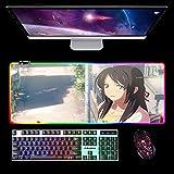 Alfombrilla De Ratón Grande para Juegos RGB Your Name Girl Alfombrilla De Ratón Led Extendida,Alfombrillas De Ratón Extra Largas para Teclado De Computadora con 14 Modos De Iluminación B 1000X500Mm