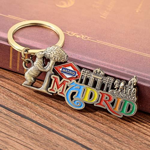 MINTUAN Schlüsselbund Schlüsselring Buntes Madrid Keychain Alcala Gatter-Schlüsselkette Bär Und Erdbeerbaum-Schlüsselring-Brunnen Der Cibeles-Schlüsselringe
