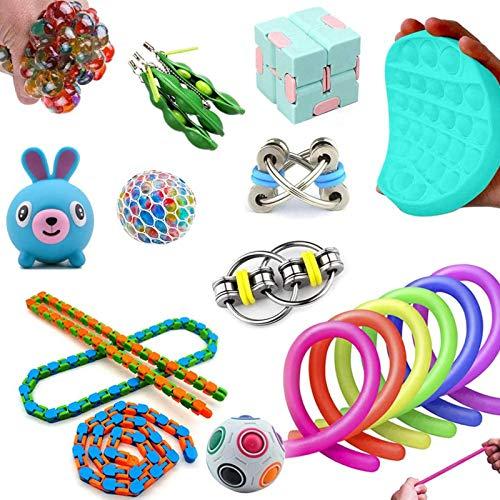 Elibeauty Juguetes sensoriales - Juego de 19 piezas de descompresión de cubo para autismo y alivio del estrés, juguetes para apretar juguetes para niños y juguetes sensoriales para autismo