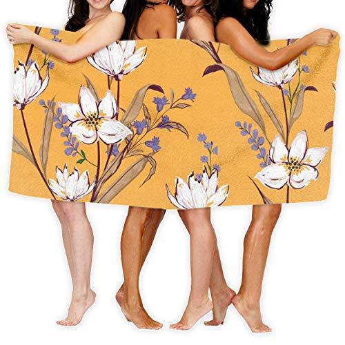 Fun Life Art Toalla de baño de flores blancas para gimnasio, toalla de playa, 51 x 80 cm