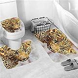 Bonito juego de cortina de ducha para baño con estampado de león y pantalla antideslizante, que se utiliza para cubrir el inodoro, tapete de cocina y decoración del hogar.