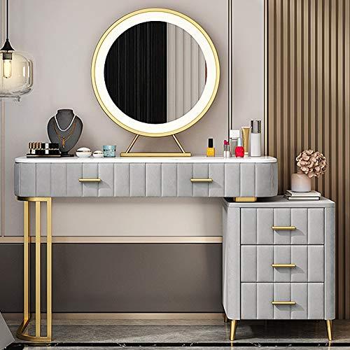 MYAOU Schlafzimmer Schminktische mit Beistelltisch und Schubladen Schminktisch mit LED-Lichtspiegel Einstellbare Helligkeit Mädchen Schminktisch, 80 cm / 100 cm