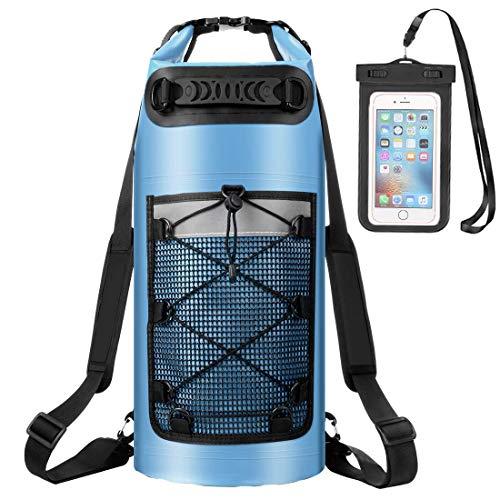 ALEENUN Dry Bag, Wasserdicht Taschen,Wasserdichter Packsack mit Handy Dry Tasche und Lang Verstellbarer Schultergurt- Gr. 30L, Blau