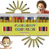 ENJSD 16 PCS Face Paint Crayons Kit, Bright Colors Face Paint Kit Set for Kids, Safe & Non-toxic Face Body Crayons,...