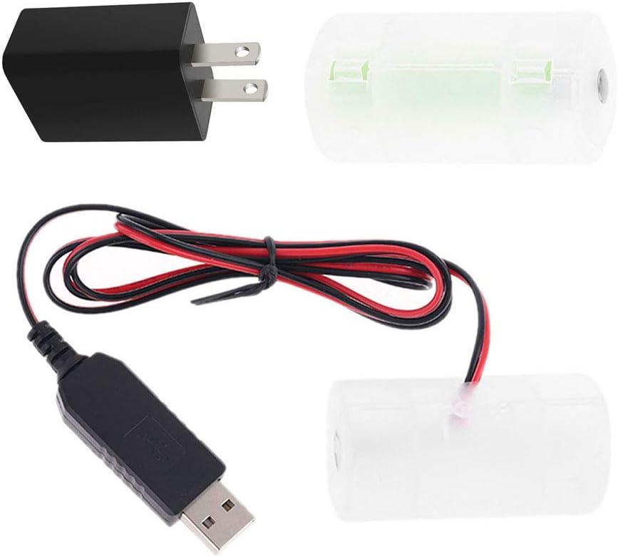 S-YUWEN 2m 1.5V 3V 4.5V 6V LR20 D Cell Battery Eliminator with US Plug USB Power Adapter 2m Cable Replace 1 to 4pcs 1.5V LR20 D Size Battery