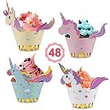 Vabaso Einhorn Cupcake Wrappers Papier 48 Stücke...