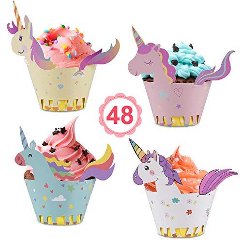Vabaso Einhorn Cupcake Wrappers Papier 48 Stücke süße Unicorn Muffins Dessert Dekoration Verpackung für Kinder Geburtstag Party, Hochzeit Kuchen Deko