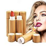 6 Piezas Tubo balsamo Labio, Bálsamo Labial de bambú vacío Tubos, MERYSAN 5,5g Recargable DIY Envases de Labios Brillo, Estuche desodorante con interior de plástico PP para Mujeres Niñas Maquillaje