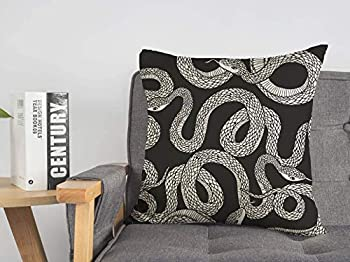 Pillow Case Snakes Print Python Tattoo Coloring Books Hand Fashion Book Animals Wildlife Boa Decoration Nature Linen Toss Soft Square Throw Cushion Cover for Couch Bed Lving Room 20 x 20 Inch