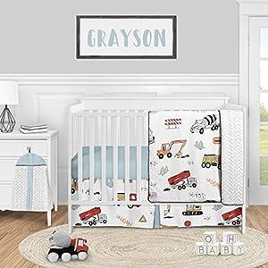 Sweet Jojo Designs Construction Truck Baby Boy Nursery Crib Bedding Set – 4 Pieces – Grey Yellow Orange Red and Blue Transportation Chevron Arrow