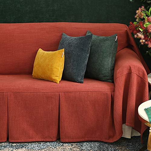 LJWLZFCGN 1 Pieza Salón Protector De Muebles Couch,Color Liso Cubierta De Sofá De Algodón,Decorativo Thiching Sofá Slipcover para El Sofá Seccional para Perros-Rojo Anaranjado 180x260cm(71x102inch)