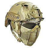 WLXW Conjunto de Gafas Protectoras de Casco y Media Máscara Táctica Rápida Y Máscara UV, Camuflaje en la Selva, Pistola de Aire de Paintball Tiro Caza Equipo de Protección De Tiro,AT