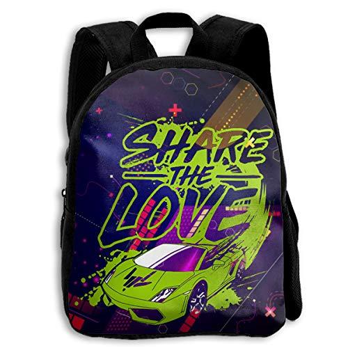 Share The Love Children's School Bags Printing Backpacks Kids Daypack for Boys Girls