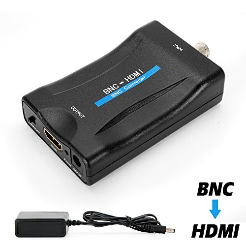 CVBS BNC to HDMI Converter, Composite BNC and Audio Input to HDMI Output Adapter with 720P/1080P Switch, Transfer Analog Video Signal from CCTV Security Camera to HD Monitor Projector Computer