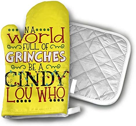 antcreptson in A World Full of Grinches Be A Cindy Lou Who Oven Mitts and Potholders Kitchen product image