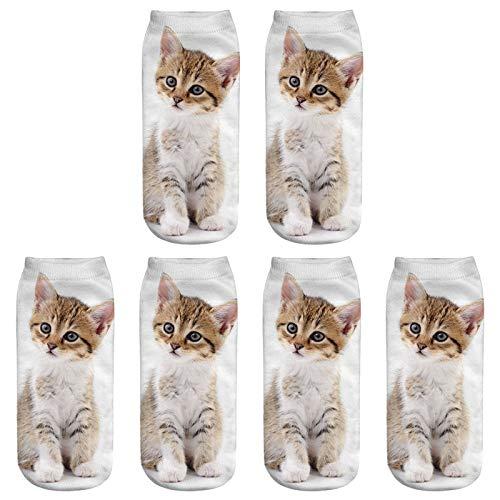 Scrox 3 Pares Calcetines para Hombre,Mujer y Niño 3D Lindo Gatos Patrón Animales Socks Unisex Casual Piso Calcetines Modernos Originales y Deportivos (#21)