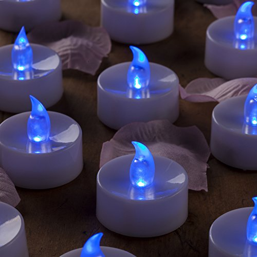 Mars Blue Flameless Candles Flickering Tea Lights - LED Candle Tealight Free Fake Rose Petals - 1.4X1.4 Height 72+ Hours - Gift Set for Him, Her, Brides, Thanksgiving, Christmas.