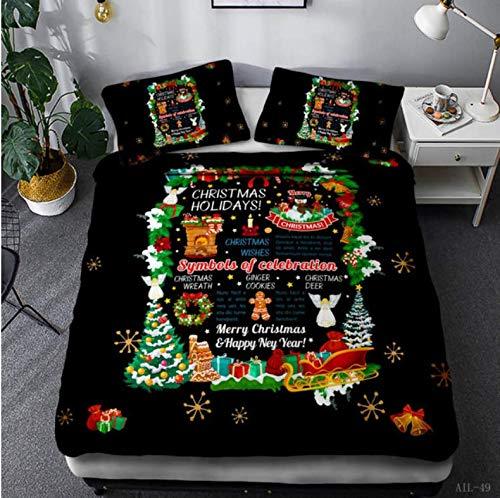 NTT Duvet Cover 3D Bedding Set Various Happy Christmas Pattern Print Duvet Cover Set With Pillowcase Christmas Decoration For Home 150 * 200 Cm