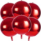 4D Balloons 6Pcs 22 inch Mylar Foil Balloons Round Sphere Foil Balloon, Great for Birthday Wedding Party Balloon Garland,Red