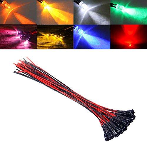 GAOHOU®Hi-elec 20X 3mm vorverdrahtet 20cm Kabel LED-Licht-Lampe 12V DC mit Kunststoff-Halter