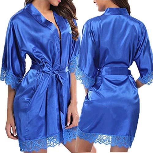 Camisón de satén de encaje sexy para mujer, lencería de noche, mini vestido sólido con cuello en V, camisón