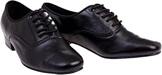 BeiBestCoat Men's Classic Lace-up Leather Dance Shoes Modern Dancing Shoes, Black