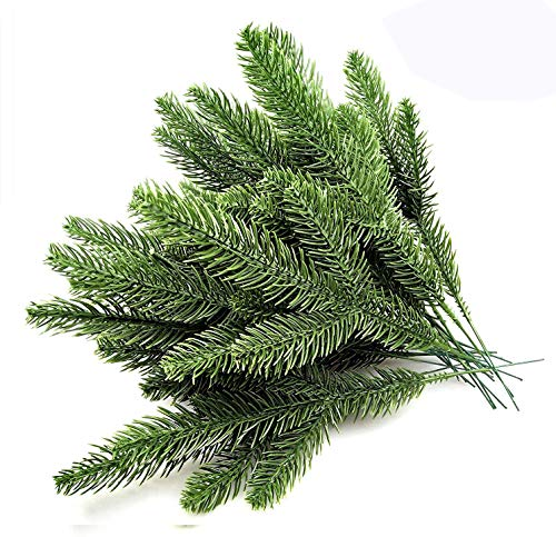 Speed Sell EU 156 30pcs 10.24x3.94 Inches Artificial Pine Branches Green Leaves Needle Garland Green Plants Pine Needles for Garland Wreath Christmas Embellishing and Home Garden
