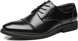 [Agogoo] ビジネスシューズ 革靴 メンズ シークレットソール ワックス靴ひも 通勤 普段用 通気 滑り止め 耐磨耗性