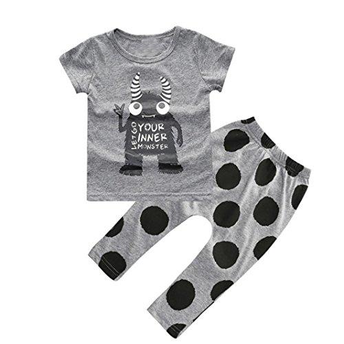 kingko® 1Réglez Summer Infant Toddler Garçons enfants Monstre Imprimé à manches courtes T-shirt + Pantalons Vêtements (9M)
