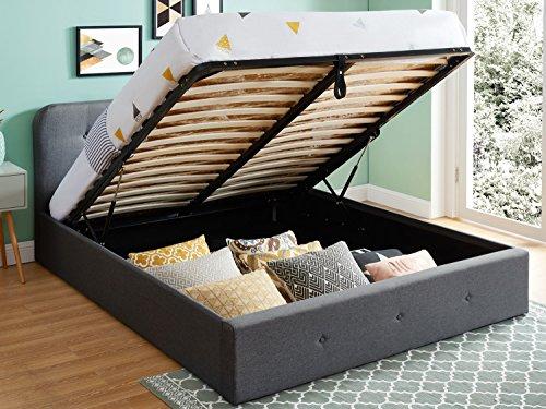 HOMIFAB Lit Coffre 140x190 cm Anthracite avec tête de lit + sommier à Lattes – Collection Kate