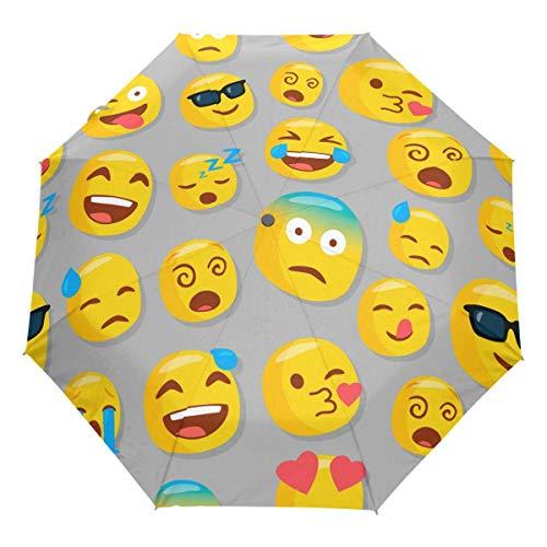 Niedlicher Emoji Auto Regenschirm Öffnen Schließen Winddichtes Reisen Lustiges Liebesherz Emoticons Regenschirm Leichter kompakter Sonnenschirm Sonnenschirm & Regen